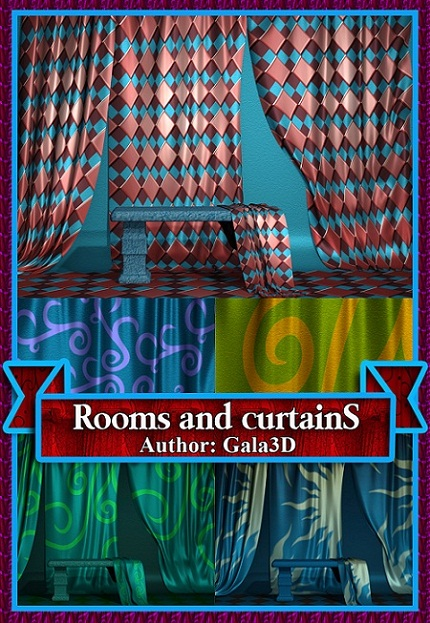 3D клипарт комнат и тканевых штор