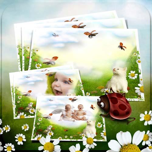 Рамка для фотошопа - Ромашки и божьи коровки
