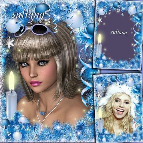 Новогодняя рамка для фотошопа в голубых тонах - Говорят под Новый год что н ...
