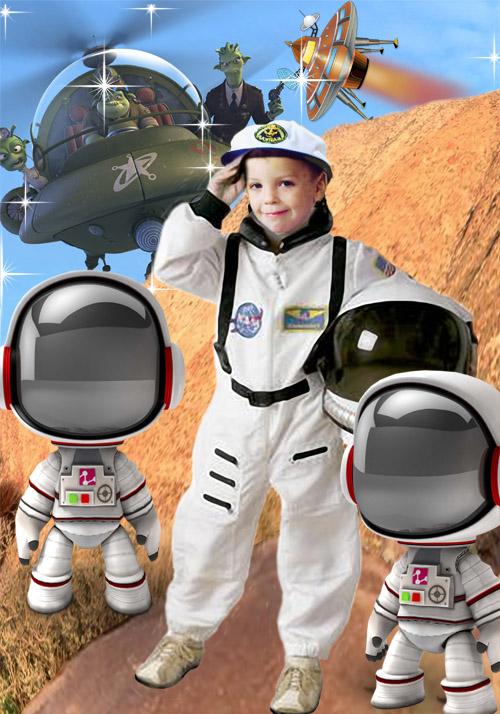 Детский шаблон для фотошопа - На новой планете