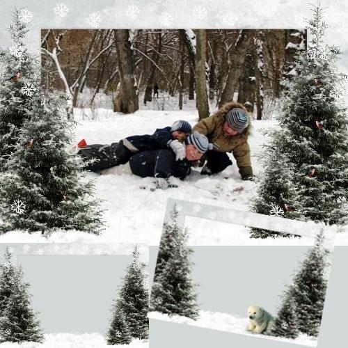 Шаблон фоторамки - Зимний лес