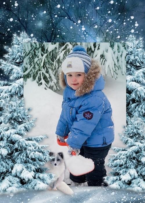Детская рамка для фотошоп - Зимняя прогулка