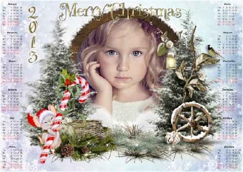Новогодняя календарь - рамка на 2013 год - С рождеством