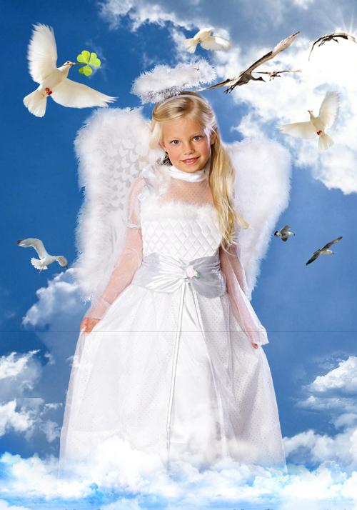 Детский шаблон для фотошопа - Рыженький ангел