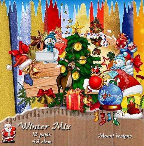 Зимний скрап-набор - Новогодний микс