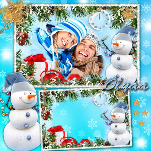 Праздничная рамка для фотошоп - Новый год стучит упрямо в окна, инеем слепя
