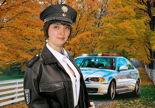 Женский шаблон для фотошопа - Пост на дороге
