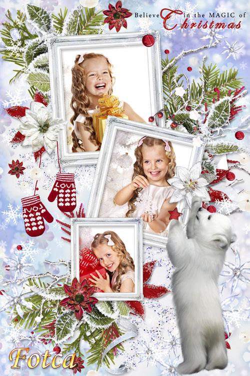 Новогодняя рамка для фото - Пусть мороз стучит в стекло
