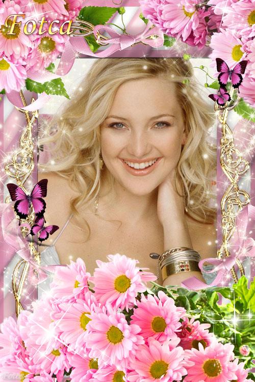 Цветочная рамка для фото - Розовые хризантемы