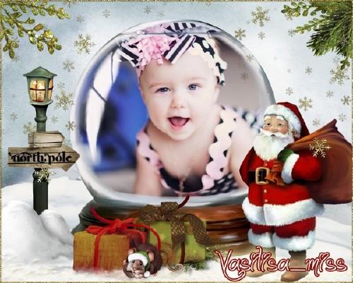 Детская новогодня рамочка - Снежный шар