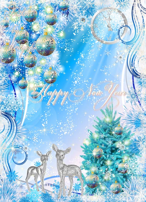 Новогодний PSD Исходник - Игрушки яркие блестят таинственно на новогодней е ...