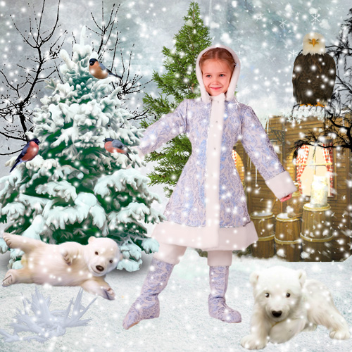 Шаблон для фотошопа - Девочка и медведи
