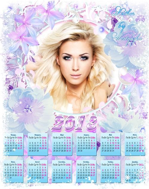 Новогодний календарь рамка на 2013 год - Прекрасные цветы в Новый год
