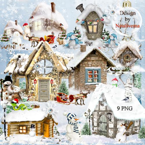 Клипарт в PNG – Новогодние композиции домиков …