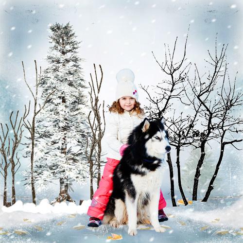 Шаблон для фотошопа - Девочка верхом на собаке
