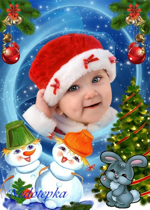 Новогодняя рамка - Веселые снеговики
