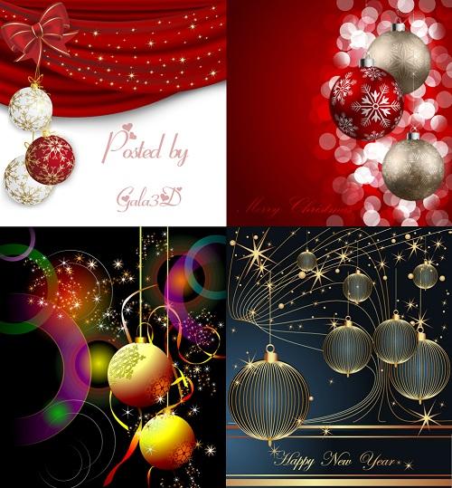 Новогодние фоны в векторном формате с ёлочными шарами