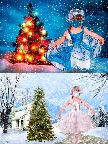 Шаблоны для фотошопа - Девочки - снежинки
