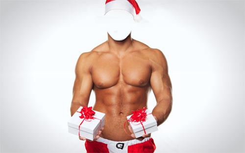 Шаблон для фотошопа - парень с подарками