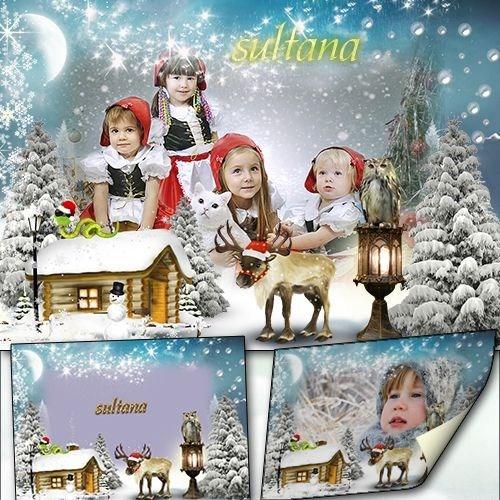 Рамочка для фото - Пусть Новый год на резвых оленях к нам примчится в засне ...