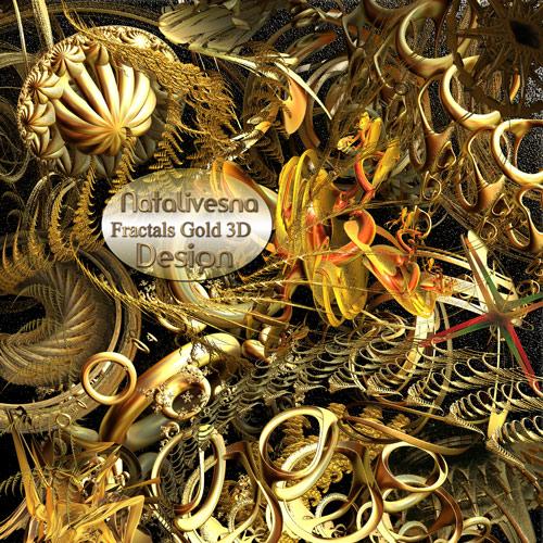 3D Золотые Фракталы на прозрачном фоне 3