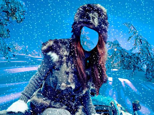 Шаблон для фотошопа – Девушка на снегоходе