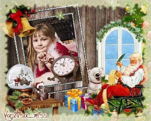 Новогодняя рамка - Новый год у ворот, ребятишек ёлка ждет