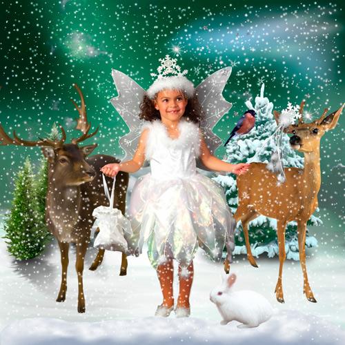 Шаблон для фотошопа - Снежинка и олени