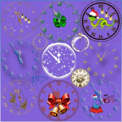 Клипарт - Новогодние часы и циферблаты