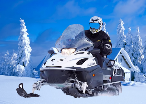 Шаблон для фотошопа – Мужчина на снегоходе