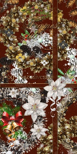 Новогодние рамки – вырезы  с шишками и снежинками