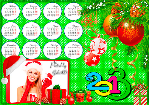 Новогодний календарь рамка на 2013 год
