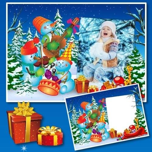 Красочная детская рамка для Photoshop - Зимнее представление