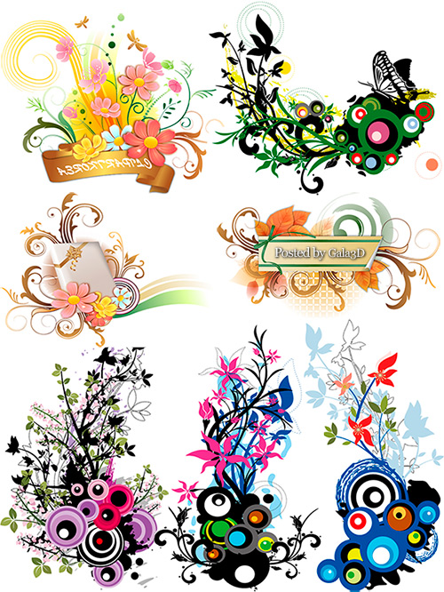 Векторные цветочные украшения
