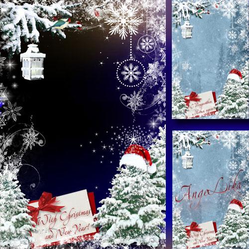 Зимняя фоторамка - С Рождеством и Новым годом
