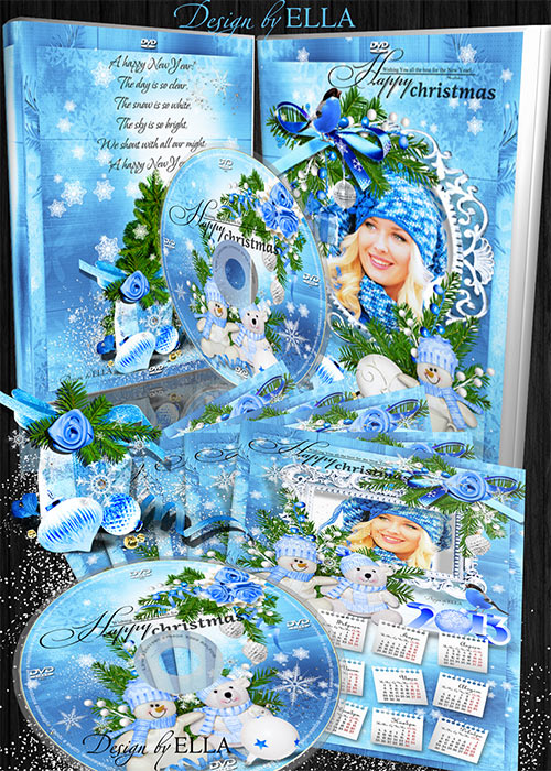 Новогодний набор-календарь,обложка и задувка на DVD диск-Blue Christmas Tal ...