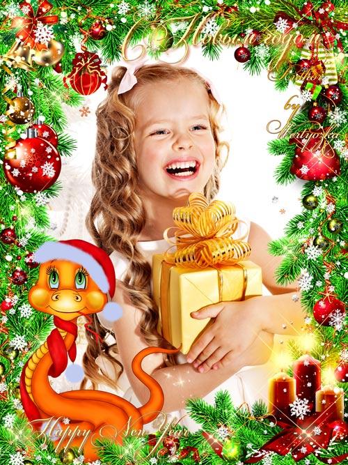 Новогодняя рамка для фотошопа - Сияющие игрушки на елке и очаровательная зм ...