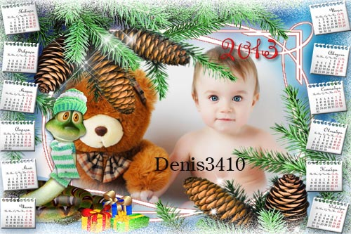 Детский календарь на 2013 год с рамкой для фотографии - Змейка