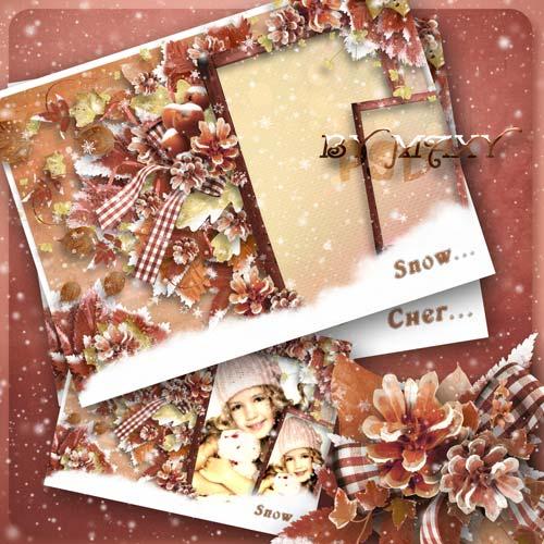 Фоторамка парная для зимних фото - Снежно-нежные воспоминания