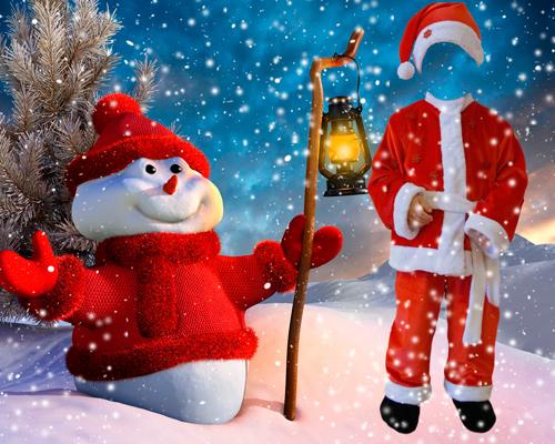 Шаблон для фотошопа – Санта Клаус и снеговик