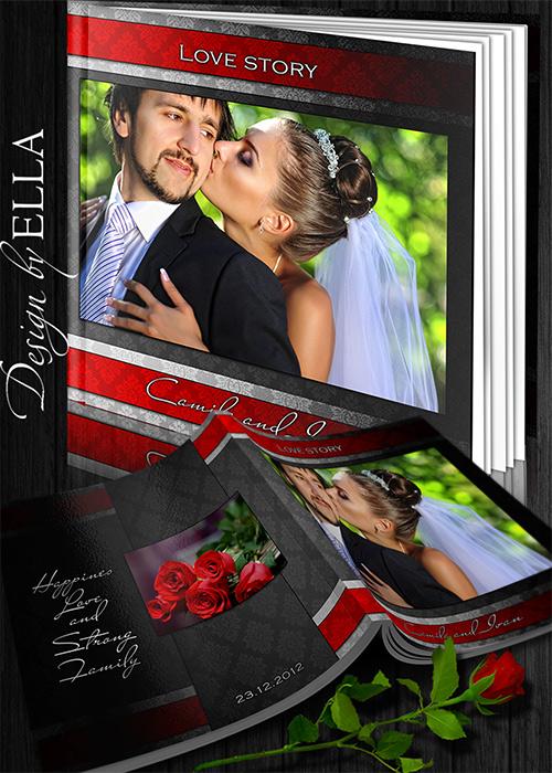 Шаблон классической фотокниги и  DVD набор - Red and Black