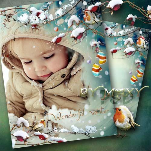 Зимняя рамка для фотошопа - Мгновения снежной красоты