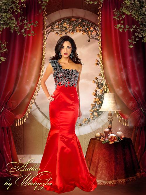 Женский шаблон для фотошопа - Девушка в роскошном красном платье