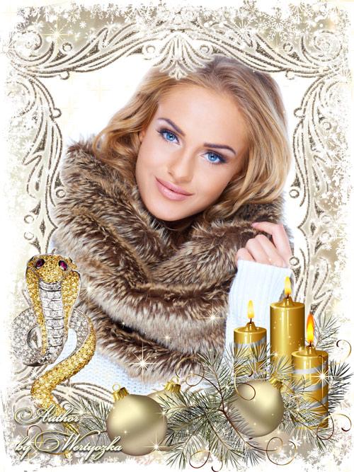 Новогодняя рамка для фотошопа - Золотая змея в сиянии свечей