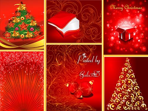 Векторные красные рождественские фоны и графические элементы