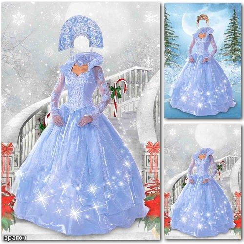 Новогодний шаблон для фотошопа – Снегурочка в платье