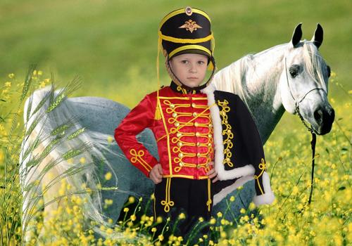 Детский шаблон для фотошопа - Мальчик гусар