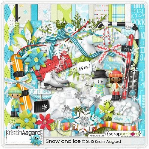 Зимний скрап-набор - Снег и Лед