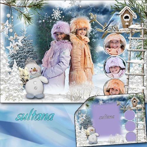 Зимняя рамочка для фотошопа - Мороз и солнце день чудесный