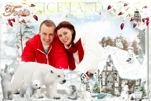 Новогодняя рамка для фото - Пусть снежинки тебя осыпают